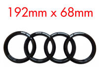BLACK AUDI RINGS REAR LOGO EMBLEM BADGE A3 A4 A5 A6,SLINE - 192mm x 68mm