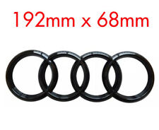 BLACK AUDI RINGS REAR BACK LOGO EMBLEM BADGE A3 A4 A5 A6,SLINE - 192mm x 68mm