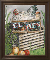 Condo EI Rey Chicken Rooster Hen Animal Wall Decor Brown Rust Art Framed Picture