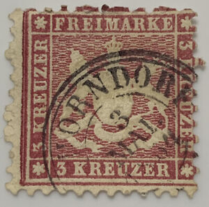 1863 WURTTEMBERG 3KR STAMP WITH 1864 HORNDORF CANCEL