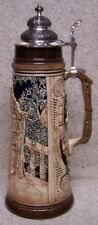 Beer Stein with lid Stoneware Hunter's Kiss 2 Liter NEW Made in Germany boxed