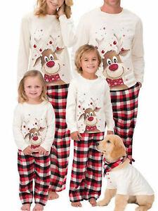 Family Matching Christmas Pajamas Set Men Women Kids Deer Nightwear Sleepwear US