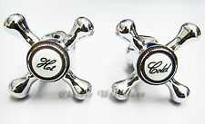 REPLACEMENT HOT & COLD VICTORIAN STYLE TAP TOP HEAD COVERS CHROME PLATED
