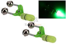 2x LED Night Fishing Bite Bait Alarm Twin 2 Bells Light Rod Tip Clip Alert Ring