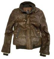 Diesel Brown Leather Bomber Jacket Womens Size Large Trabajadores