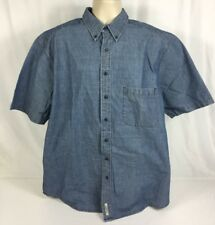 Eddie Bauer Button Front Short Sleeve 100% Cotton Men's One Pocket Tall Large