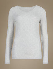 Famous Marl Grey Pointelle Long Sleeve Thermal Top Sizes 10 14 18 10