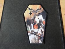 Mayhem Coffin Black Border Patch Shape Black Metal Morbid Dead