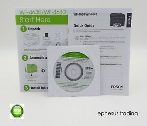 EPSON WF-4630/4640 Printer OEM Quick Guide Start Here Manual Drivers CD-Rom MINT