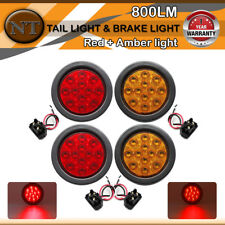 "4 Pcs 4"" 12LED (2Red+2Amber) Stop Tail Turn Light include Rubber for Trailer RV"