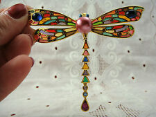 JOAN RIVERS STAINED GLASS PLIQUE A JOUR DRAGONFLY DANGLE RHINESTONE PIN BROOCH
