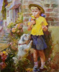 """Garmash """"Taste of Ice Cream"""" Hand Embellished Giclee on Canvas S/N with a COA!"""