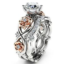 Fashion Halo AAA  Silver & Rose Gold Filled  Wedding Engagement Floral Ring Set