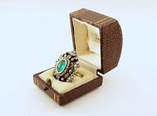 Antique Russian Faberge 4.5 ct Cabochon Emerald 3 ct Diamonds Ring