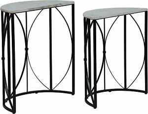 Penguin Home®  Set of 2 White Real Marble Half Circle Side Tables 