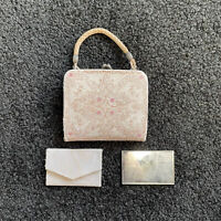Antique Made In Italy Makeup Coin Purse Leather With Mirror White & Rose Leather