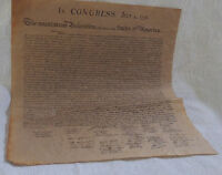 Declaration of Independence Parchment Paper US History
