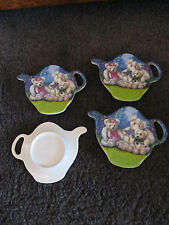 ASHDENE  mini plates..Set of 4 teapot shaped plates with teddys..