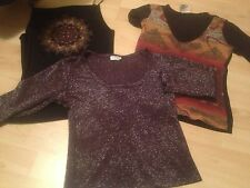 S/M LOT 3 Vintage 90's DANCE TOPS 3/4 Sleeve ABSTRACT SUN RED BEAD DESIGN XOXO