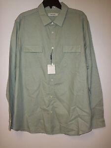 Calvin Klein New Mens Dressy Refines Rolled Sage XL Button Up Shirt
