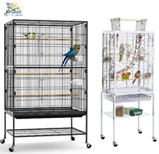 Large 132 & 131CM Rolling Portable Metal Bird Cages Wheels Tray Cockatoo Parrot