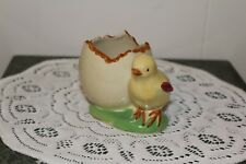 VINTAGE....CERAMIC...BABY CHICK , WITH CRACKED EGG.....PLANTER...JAPAN