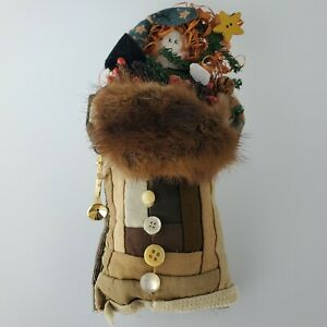 """Hand Made Holiday Olde World Doll Vintage Fabric Quilt Coat Mink Hand Warmer 10"""""""
