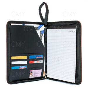 A4 Zipped Conference Folder Business Faux Leather Document Case Bag Portfolio