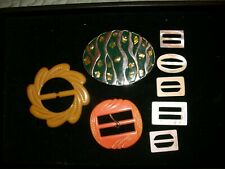 Lot of 8 Belt Buckles Plastic, Metal, Shell  Several Vintage