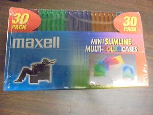 Maxell MJC-30C  Mini SLIMLINE Multi-Color Cases (30 Pack)