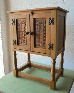 VINTAGE JAYCEE OLD CHARM OAK SIDE TABLE BEDSIDE CUPBOARD CABINET Free postage