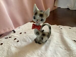 Vintage Kitsch Foreign Ceramic Cat With Big Eyes & Red Bow