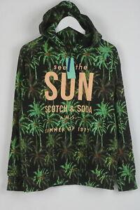 RRP €99 SCOTCH & SODA S.I.E.S.T.A Men's SMALL Palm Artwork Hoodie Jumper 7680 mm