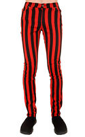 "DRAINPIPE STRETCH SKINNY JEANS RED 1"" STRIPE MENS UNISEX INDIE ROCK GLAM RETRO"
