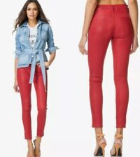 $1035 Frame Lamb Leather Le Skinny Stretch Crop Pants Red