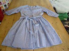 "Stunning GAP ""Designed & Crafted"" Blue Striped Cotton Summer DRESS, 0, UK 6"