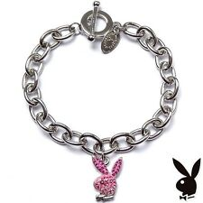AUTHENTIC NEW Playboy Charm Bracelet Pink Swarovski Crystal Silver Plated Link 1