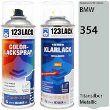 Autolack Lackspray Set BMW 354 TITANSILBER Metallic Spray + Klarlack