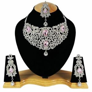 Zerconia Designer Wedding Bridal SIlver Plated AD Necklace Earrings Tikka Set 9-
