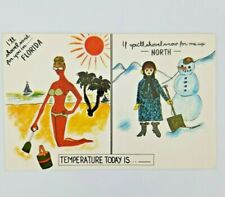 Vintage Postcard Greetings from Florida Humor Temperature Hot Cold Shovel
