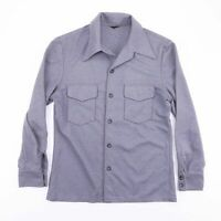 Vintage 70's Style Grey Long Sleeve Pocket Dagger Collar Shirt Size Mens Small