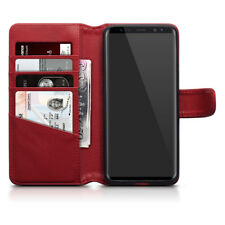 Genuine Real Leather Wallet Case for Samsung Galaxy S9 - Red