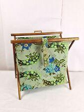Sewing Basket Bag Vintage 60s Notions Knitting Bag Magazine Wood Green Fabric