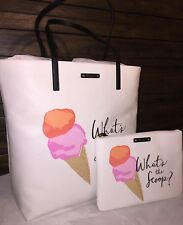 NWT KATE SPADE BON SHOPPER WHAT'S THE SCOOP  Ice Cream Flavor of the Mth 2pc Set