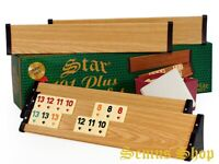 Star Holz Optik Rummy Set PREMIUM OKEY mit Melamin Steine Plastik OKEY TAKIMI
