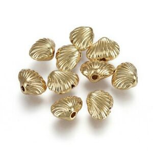 10pcs Alloy Beads Nickel Free Shell Shape Real Gold Plated Jewelry Making 10mm