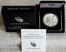 2016 P Us Mint Mark Twain Silver Bu Dollar Commemorative With Box and Coa