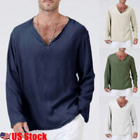 US Men's Flax Linen T-Shirt Casual V-Neck Long Sleeve Shirt Tops Tees Breathable