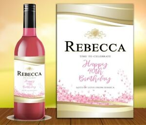 PERSONALISED ROSE WINE PROSECCO BOTTLE LABEL BIRTHDAY ANY OCCASION DETAILS ROS1