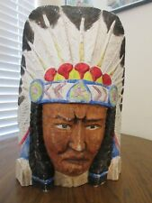 HAND CARVED & PAINTED NATIVE AMERICAN INDIAN CHIEF HEAD BUST CIGAR STORE BUST
